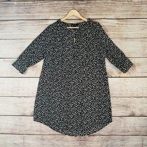 Lane Bryant Black & White Polka Dot Shirt Dress